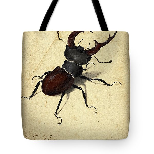 re-usable carrier bag stag beetle tote bag black and white folk stag beetle eco-shopper with cool beetle picture