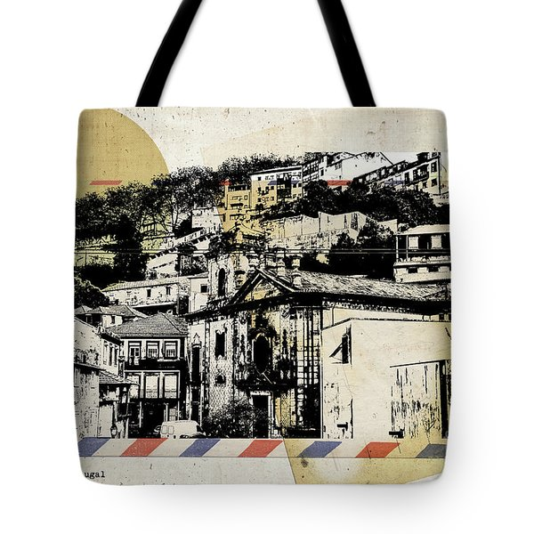 Tote Bag featuring the digital art stylish retro postcard of Porto  by Ariadna De Raadt