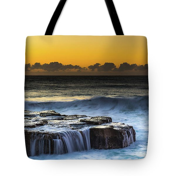 Sunrise Seascape With Cascades Over The Rock Ledge Tote Bag