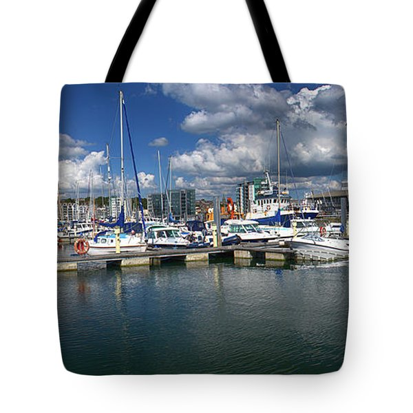 Sutton Harbour Plymouth Tote Bag by Chris Day