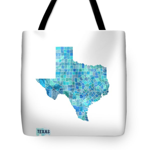 Texas Watercolor Map Tote Bag by Michael Tompsett