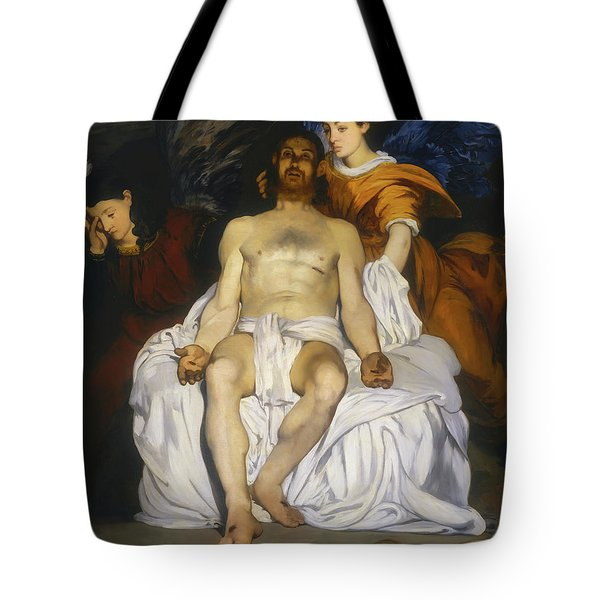Tote Bag featuring the painting The Dead Christ With Angels by Edouard Manet