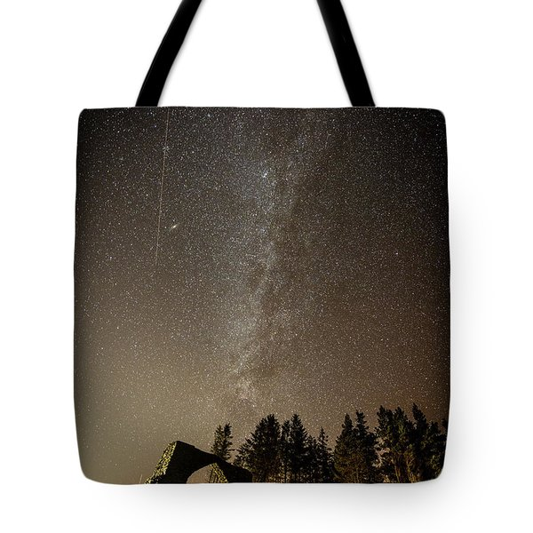The Milky Way Over The Hafod Arch, Ceredigion Wales Uk Tote Bag