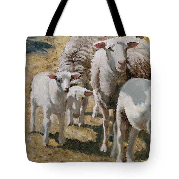 Tote Bag featuring the painting The Whole Family Is Here by John Reynolds