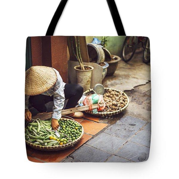 Vietnamese Street Market Lady Seller Hanoi Vietnam Tote Bag