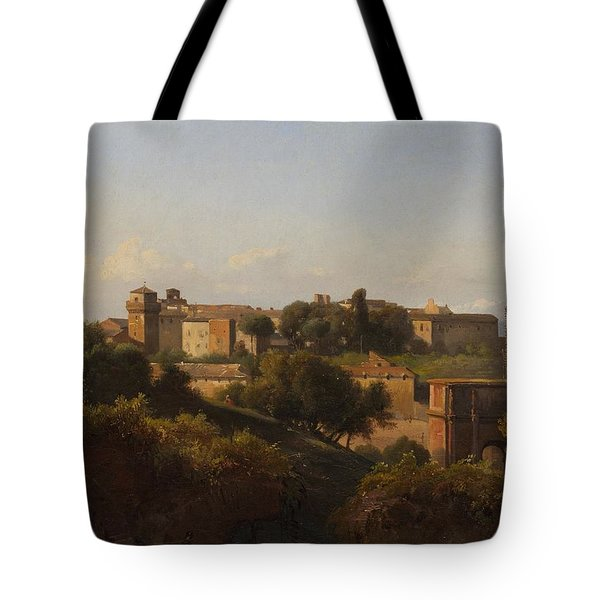 View Of The Colosseum And The Arch Of Constantine Tote Bag