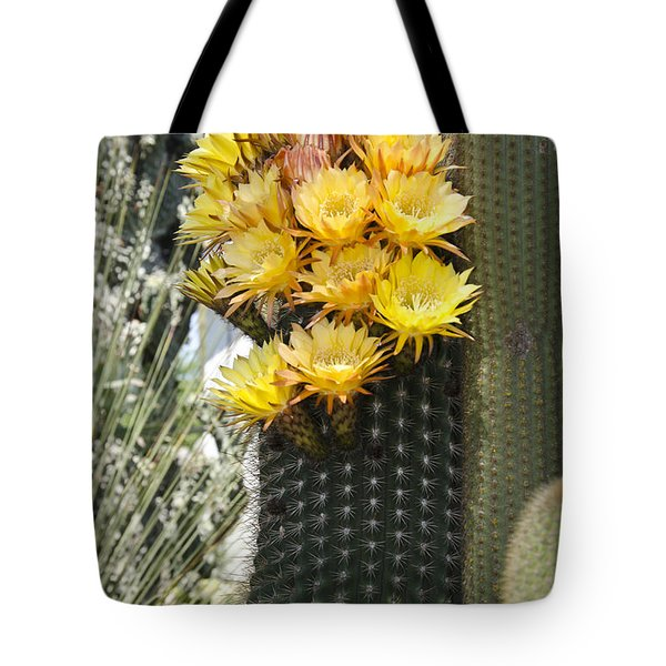 Yellow Cactus Flowers Tote Bag