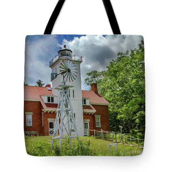 Tote Bag featuring the photograph 40 Mile Point Lighthouse by Bill Gallagher