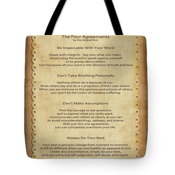41- The Four Agreements Tote Bag by Joseph Keane