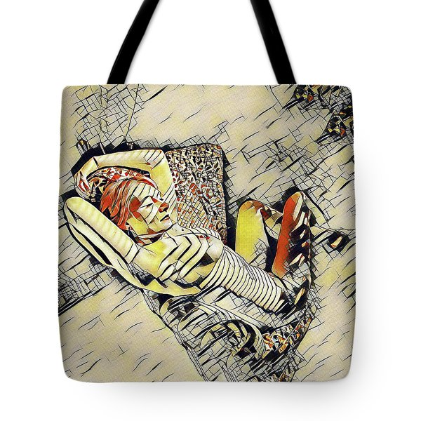 4248s-jg Zebra Striped Woman In Armchair By Window Erotica In The Style Of Kandinsky Tote Bag
