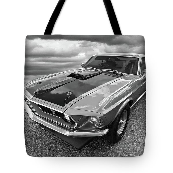 428 Cobra Jet Mach1 Ford Mustang 1969 In Black And White Tote Bag