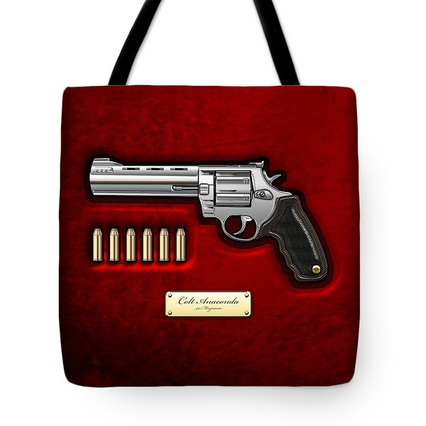 .44 Magnum Colt Anaconda On Red Velvet  Tote Bag
