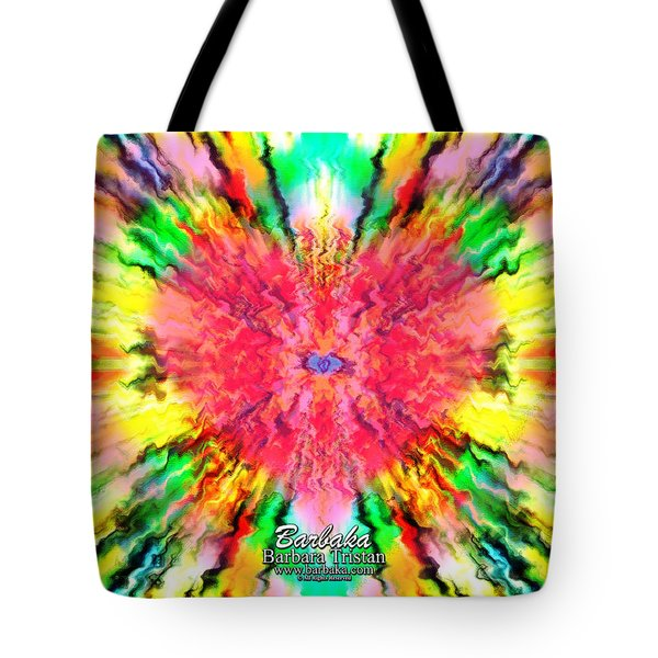Tote Bag featuring the mixed media 444 Loves Vibration by Barbara Tristan