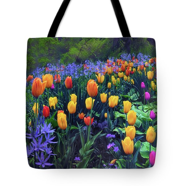 Procession Of Tulips Tote Bag