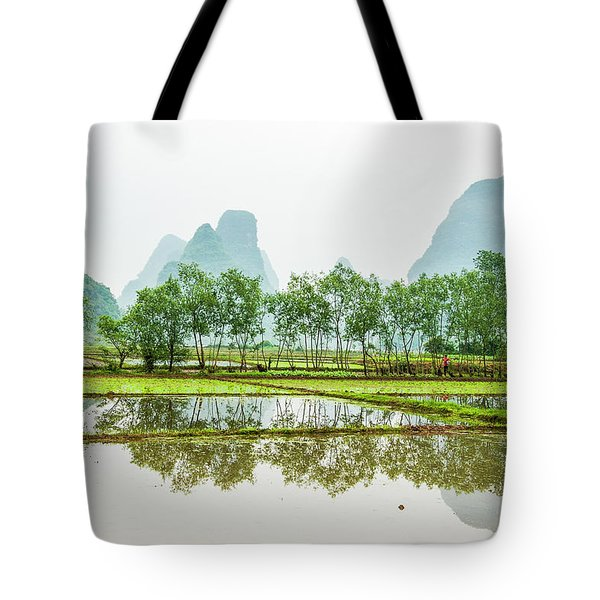 Tote Bag featuring the photograph Karst Rural Scenery In Spring by Carl Ning