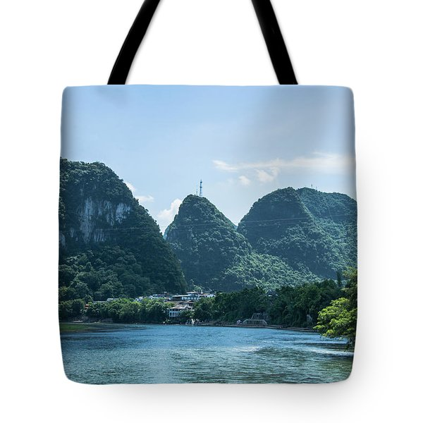 Lijiang River And Karst Mountains Scenery Tote Bag
