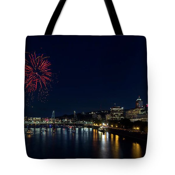 4th Of July Fireworks At Portland Waterfront 2016 Tote Bag by David Gn
