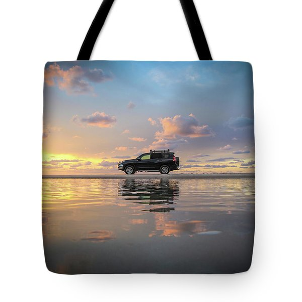 4wd Vehicle And Stunning Sunset Reflections On Beach Tote Bag