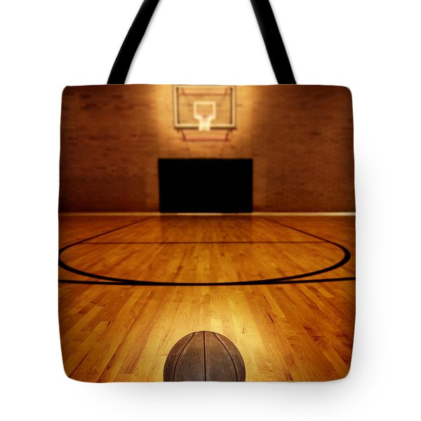 Basketball And Basketball Court Tote Bag by Lane Erickson