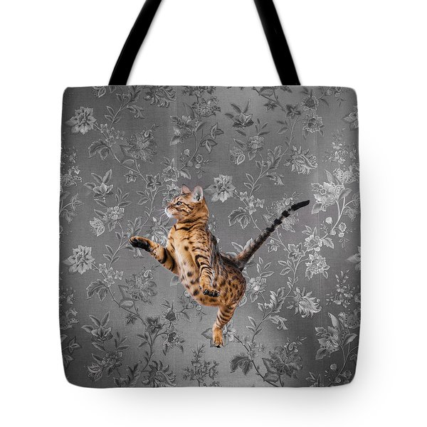 Bengal Cat Jumping Tote Bag