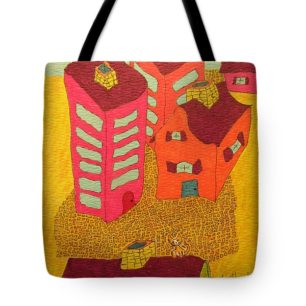 5 Bldgs Cat On One Roof Tote Bag