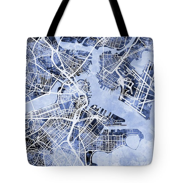 Boston Massachusetts Street Map Tote Bag