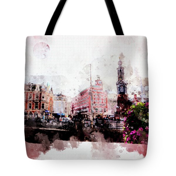 Tote Bag featuring the digital art City Life In Watercolor Style  by Ariadna De Raadt
