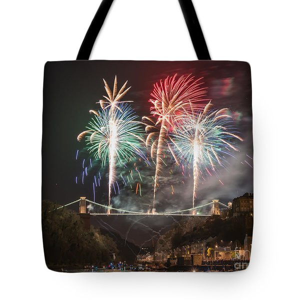 Clifton Suspension Bridge Fireworks Tote Bag