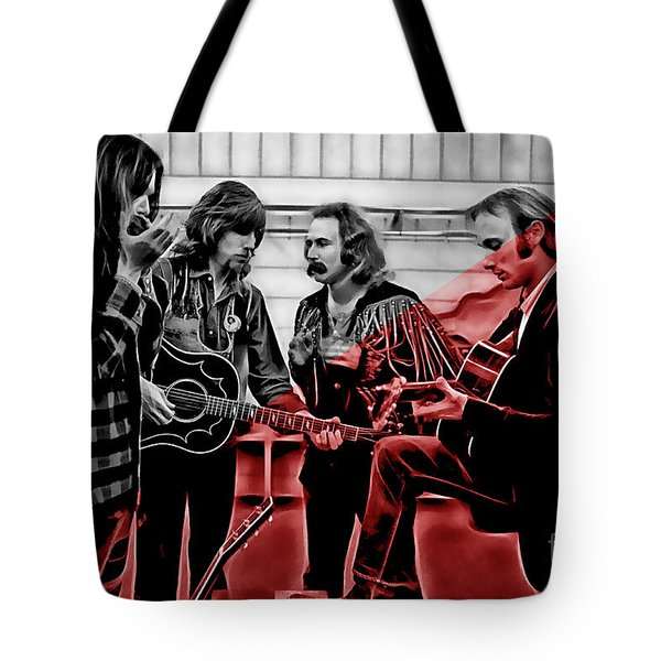Crosby Stills Nash And Young Tote Bag by Marvin Blaine