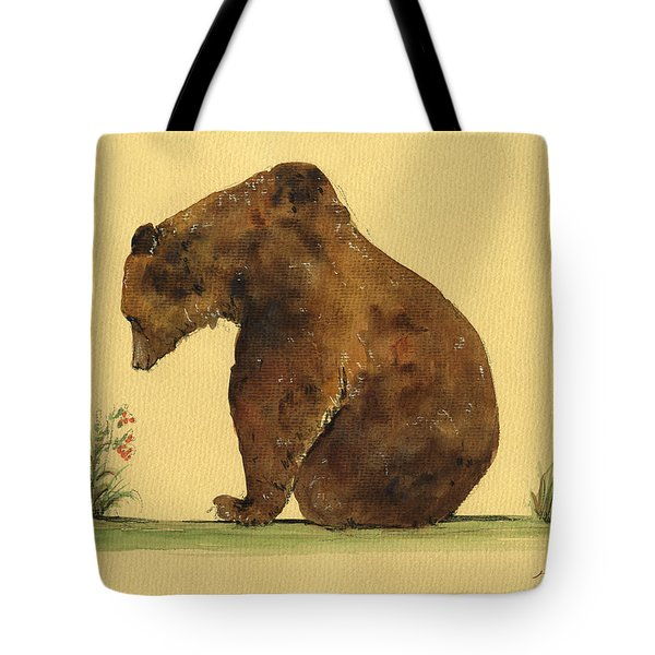 Grizzly Bear Watercolor Painting Tote Bag