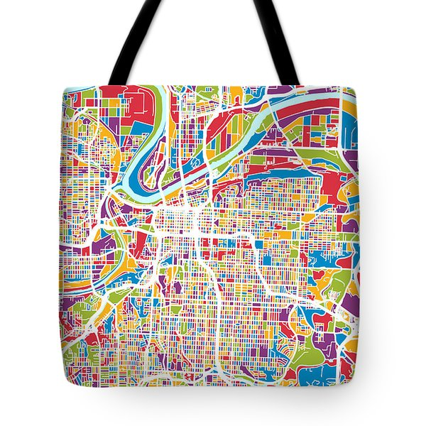 Kansas City Missouri City Map Tote Bag