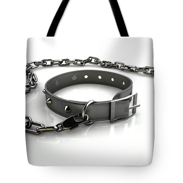 Leather Studded Collar And Chain Tote Bag