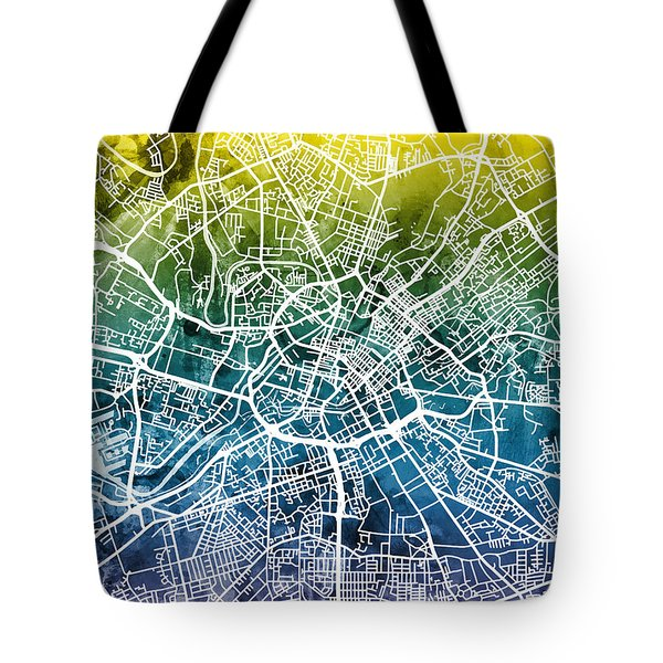Manchester England Street Map Tote Bag