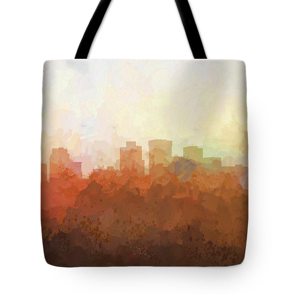 Tote Bag featuring the digital art Norfolk Virginia Skyline by Marlene Watson