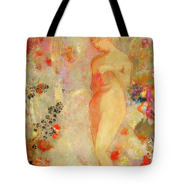 Tote Bag featuring the painting Pandora by Odilon Redon