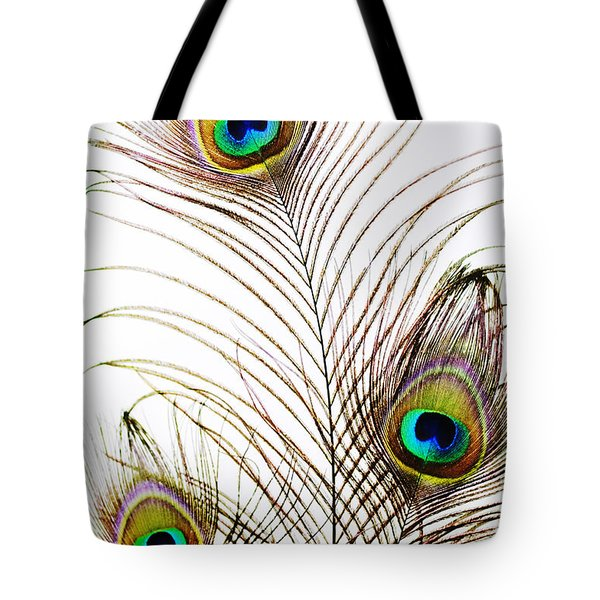 Peacock Feathers Tote Bag by Mary Van de Ven - Printscapes