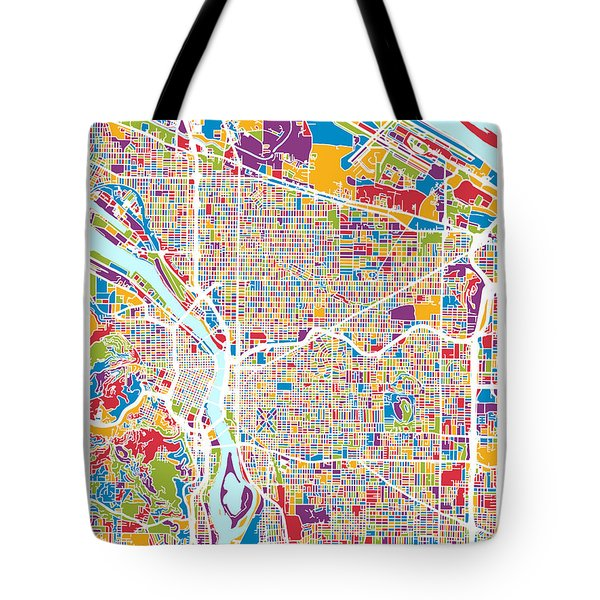 Portland Oregon City Map Tote Bag