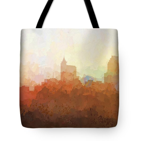 Tote Bag featuring the digital art Raleigh North Carolina Skyline by Marlene Watson
