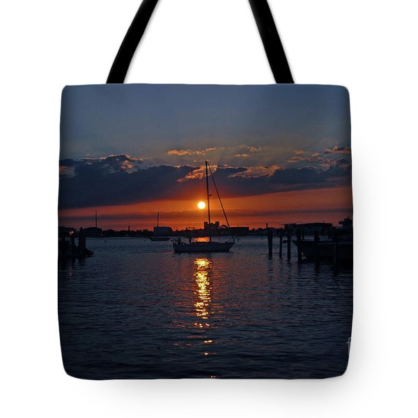 5- Sailfish Marina Sunset In Paradise Tote Bag by Joseph Keane