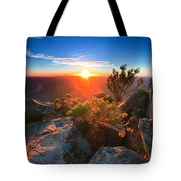 St Mary Peak Sunrise Tote Bag