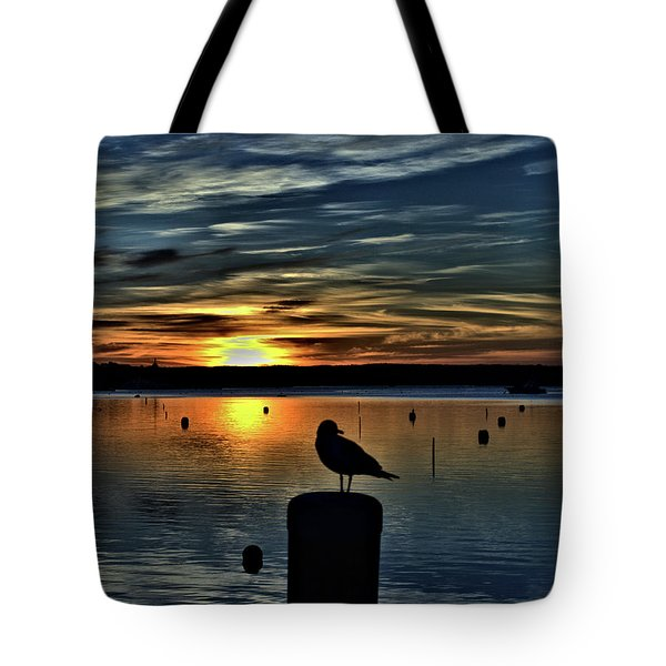 Sunrise Onset Pier Tote Bag