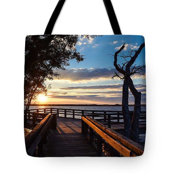 Sunset On The Cape Fear River Tote Bag