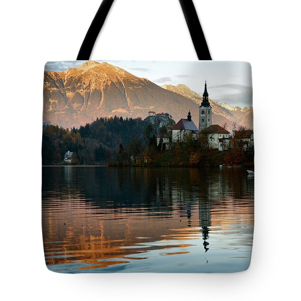 Sunset Over Lake Bled Tote Bag