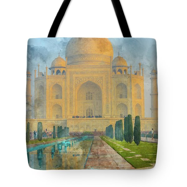 Taj Mahal In Agra India Tote Bag