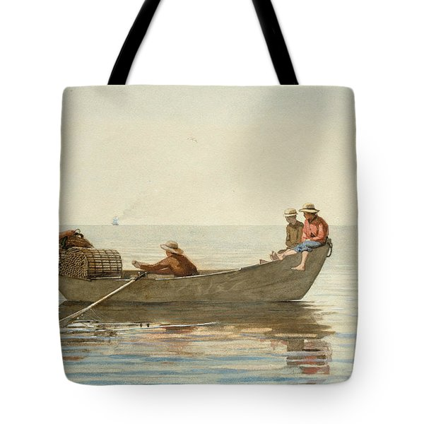Three Boys In A Dory With Lobster Pots Tote Bag