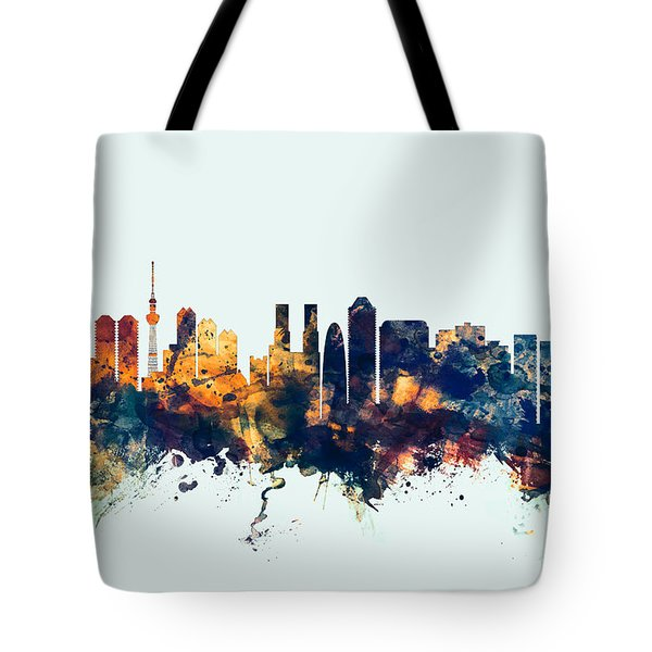Tokyo Japan Skyline Tote Bag by Michael Tompsett
