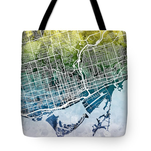 Toronto Street Map Tote Bag
