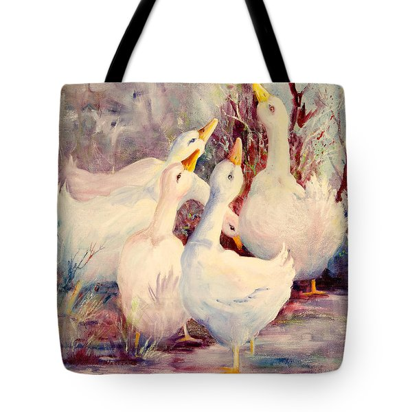 5 White Geese Tote Bag