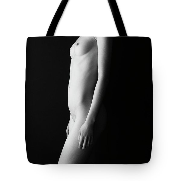 Young Woman In Front Of Black Wall Tote Bag