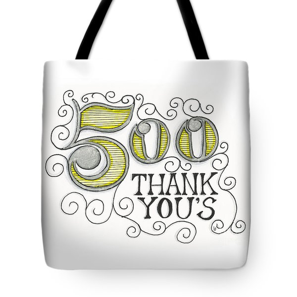 Tote Bag featuring the drawing 500 Thank Yous by Cindy Garber Iverson